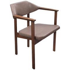 Mid-Century Modern Desk Chair 1950s in Teak and Faux Leather Tribute to Art Deco