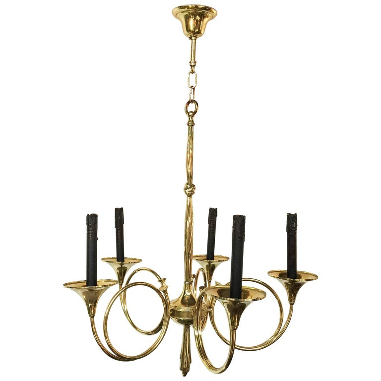 1950 Brass Chandelier with Hunt Design in the Style of Maison Jansen
