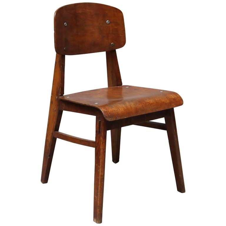 Unique Midcentury Wooden Chair by Jean Prouvé