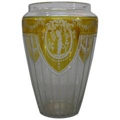 Art Deco Bohemian Czech Engraved Amber Flash Glass Vase, Female in Garden