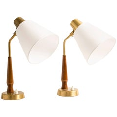 Pair of Teak and Brass Table Lamps by Hans Bergström