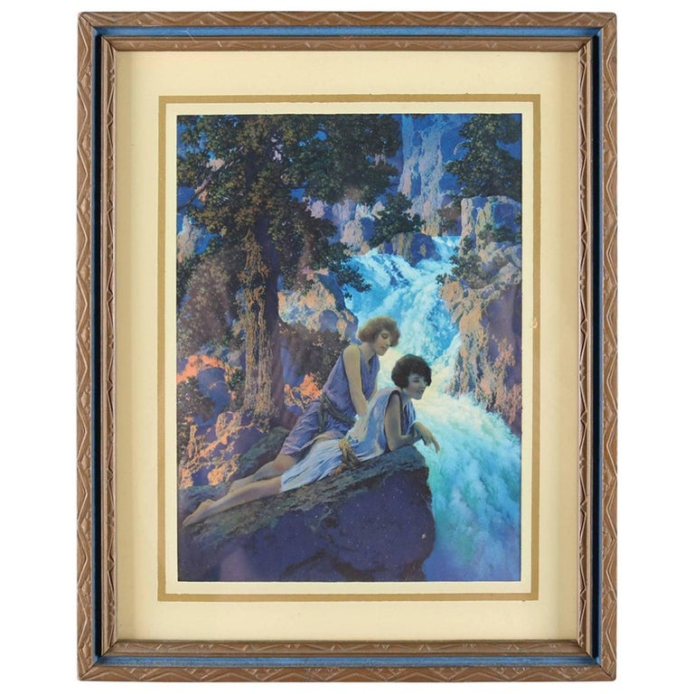 "Art Deco Print of ""Waterfall"" After Original by Maxfield Parrish, Framed"