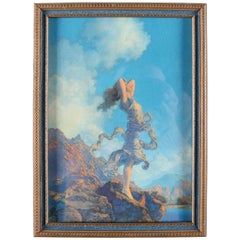 Art Deco Print of Ecstasy after Original by Maxfield Parrish Framed, circa 1929