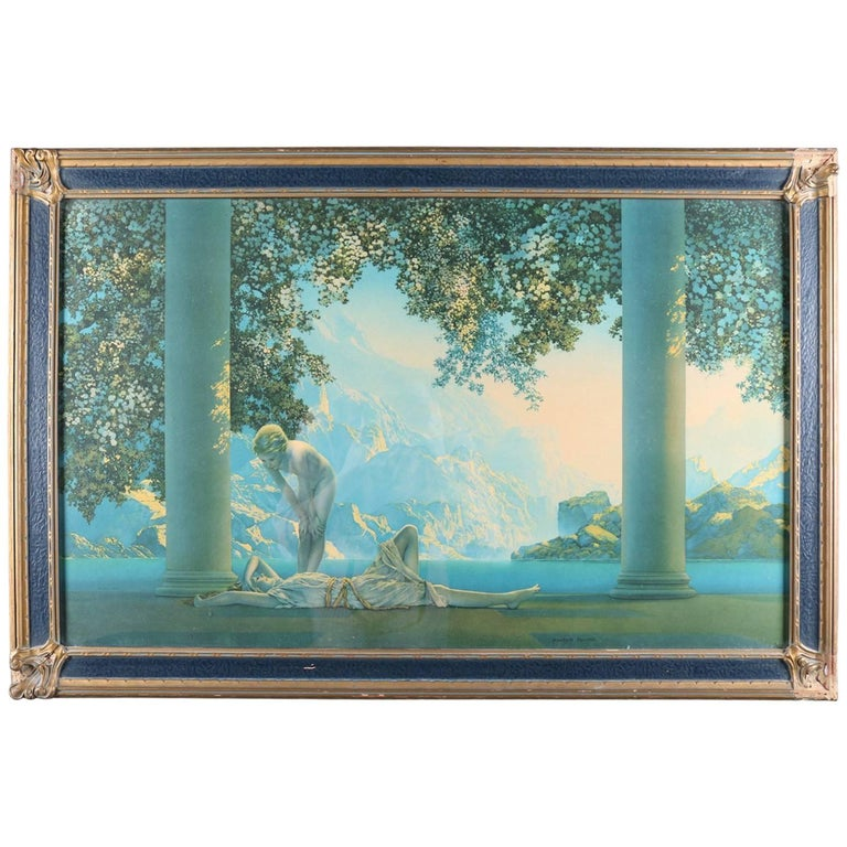 Art Deco Print of Daybreak after Original by Maxfield Parrish Framed, circa 1920