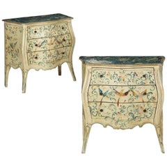 Pair of Venetian Rococo Hand-Painted Bedside Nightstand Commodes