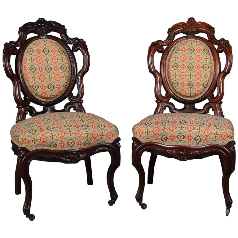 Pair of Antique Meeks School Victorian Carved Rosewood Side Chairs, circa 1880