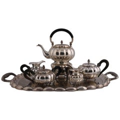 Large Six-Piece French Antique French .800 Silver Gadroon Tea Set, circa 1900