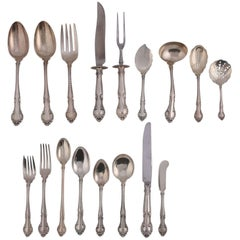 "91 Pc Set Sterling Silver Flatware ""English Gadroon"" by Gorham, 20th Century"