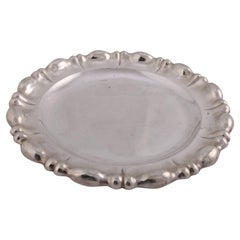 German .840 Silver Hand-Hammered Repousse Platter, Augsburg, 19th Century