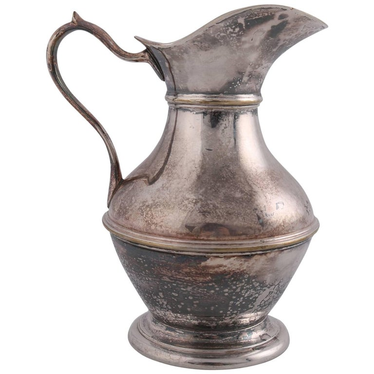 German Sterling Silver Georgian Style Pitcher 9.4 toz Darmstadt, 19th Century For Sale