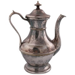 German Sterling Silver Georgian Style Tea Pot, Darmstadt, 19th Century