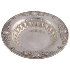 Neoclassical Shield and Floral Repousse Sterling Silver Round Bowl, circa 1900