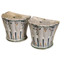 Pair of 19th Century French Hand-Painted Demilune Faience Bouquetières Vases