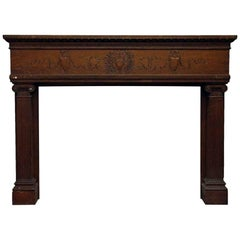 1920s Extra Wide Carved Oak Mantel with Hand-Carved Details