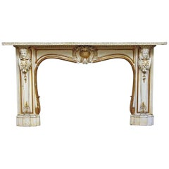 1930s Beautiful Carved Wooden Figural Mantel from Park Ave Apartment