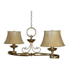 Unique Spanish Brass Two-Light Scroll Chandelier, Second Quarter of 20th Century