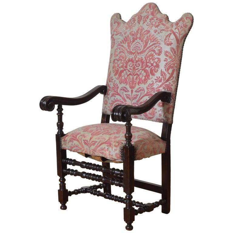 Italian Baroque Period Walnut and Upholstered Poltrona