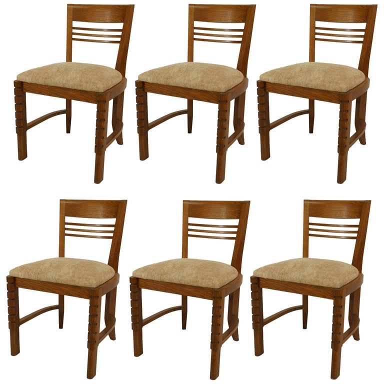 Set of Six French 1940s Oak Side Chairs