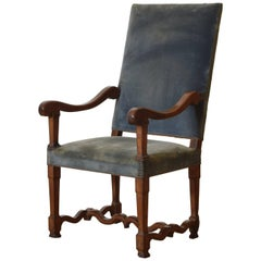 French Louis XIV Period Carved Walnut Fauteuil, 18th Century