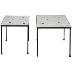 Pair of Midcentury Italian Mosiac Top Side Tables