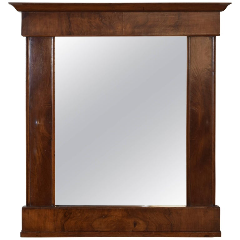 Italian Empire Veneered Walnut Mirror, Second Quarter of the 19th Century
