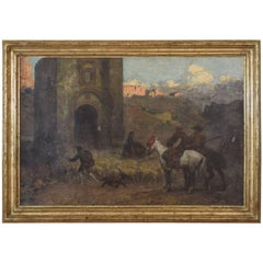 French Oil on Canvas Giltwood Frame Spanish Herders Gate of Valencia, circa 1899