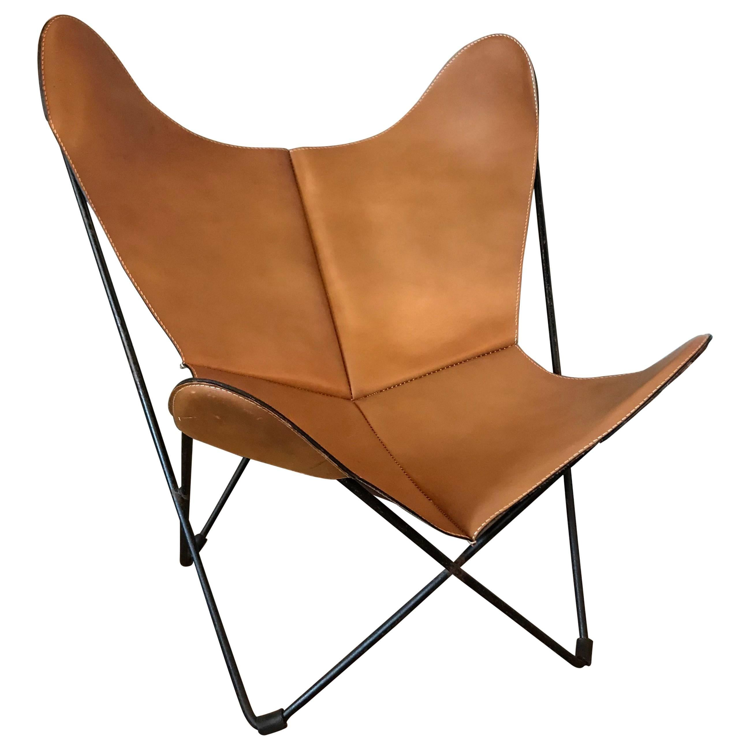Jorge Ferrari Hardoy Leather Butterfly Chair