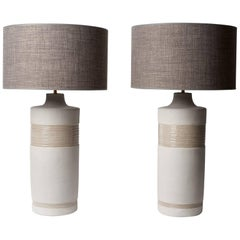 Large Pair of Grey Ceramic Base Lamps Signed by Dalo