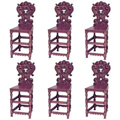 Set of Six Italian Renaissance Style Oak Four-Legged Sgabelli Chairs