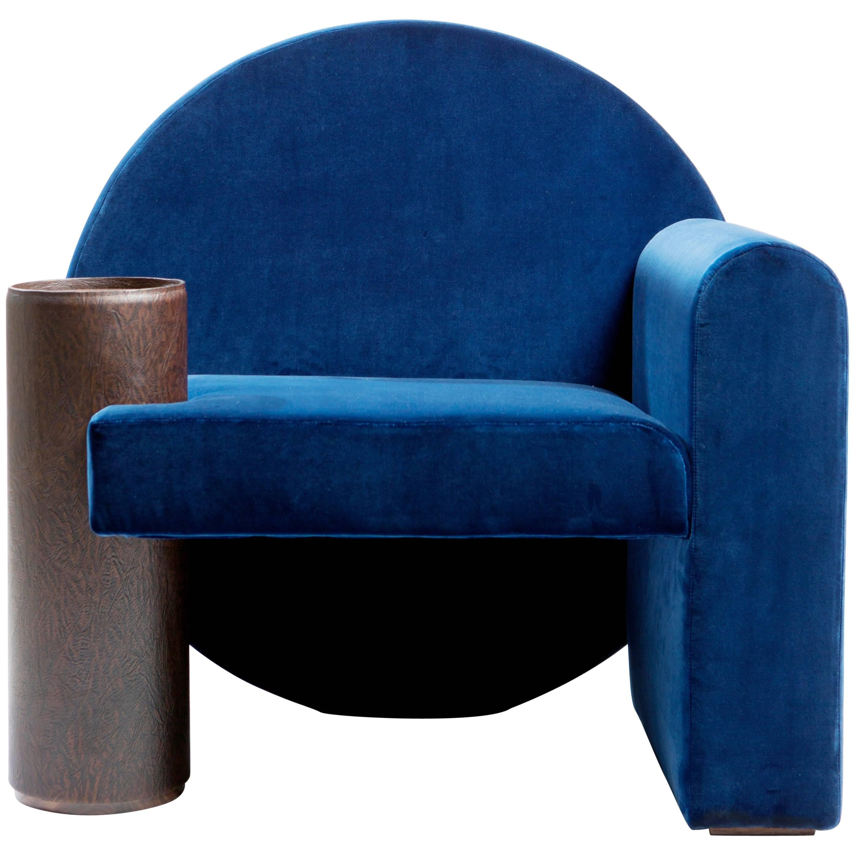 U0027Valsusau0027 Armchair In Blue Velvet And Leather By POOL For Sale