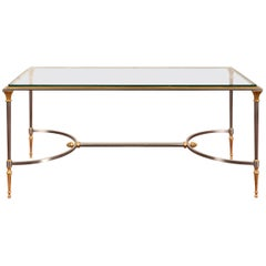 Fine Brass and Nickel Glass Top Cocktail Table