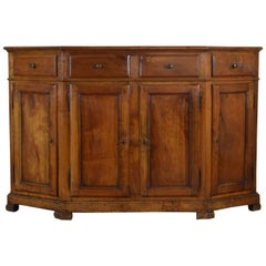 Italian, Veneto Region, Fruitwood Scantonata Credenza, Early 19th Century