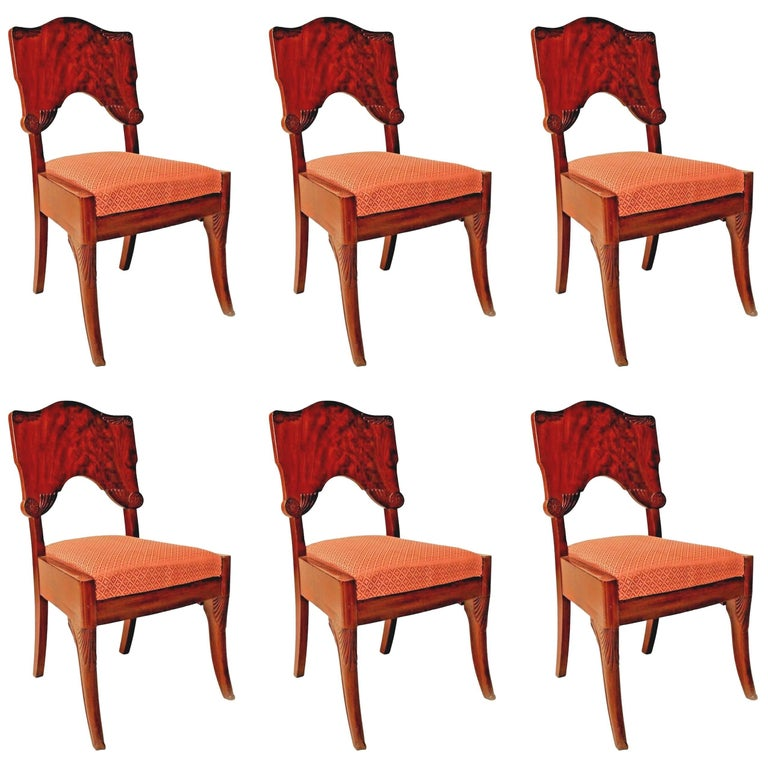 Set of Six Russian Neoclassic 'First Half of the 19th Century' Side Chairs