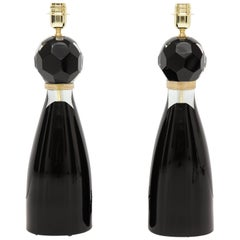 Pair of Modern Italian Black and Gold Murano Glass Lamps, Signed