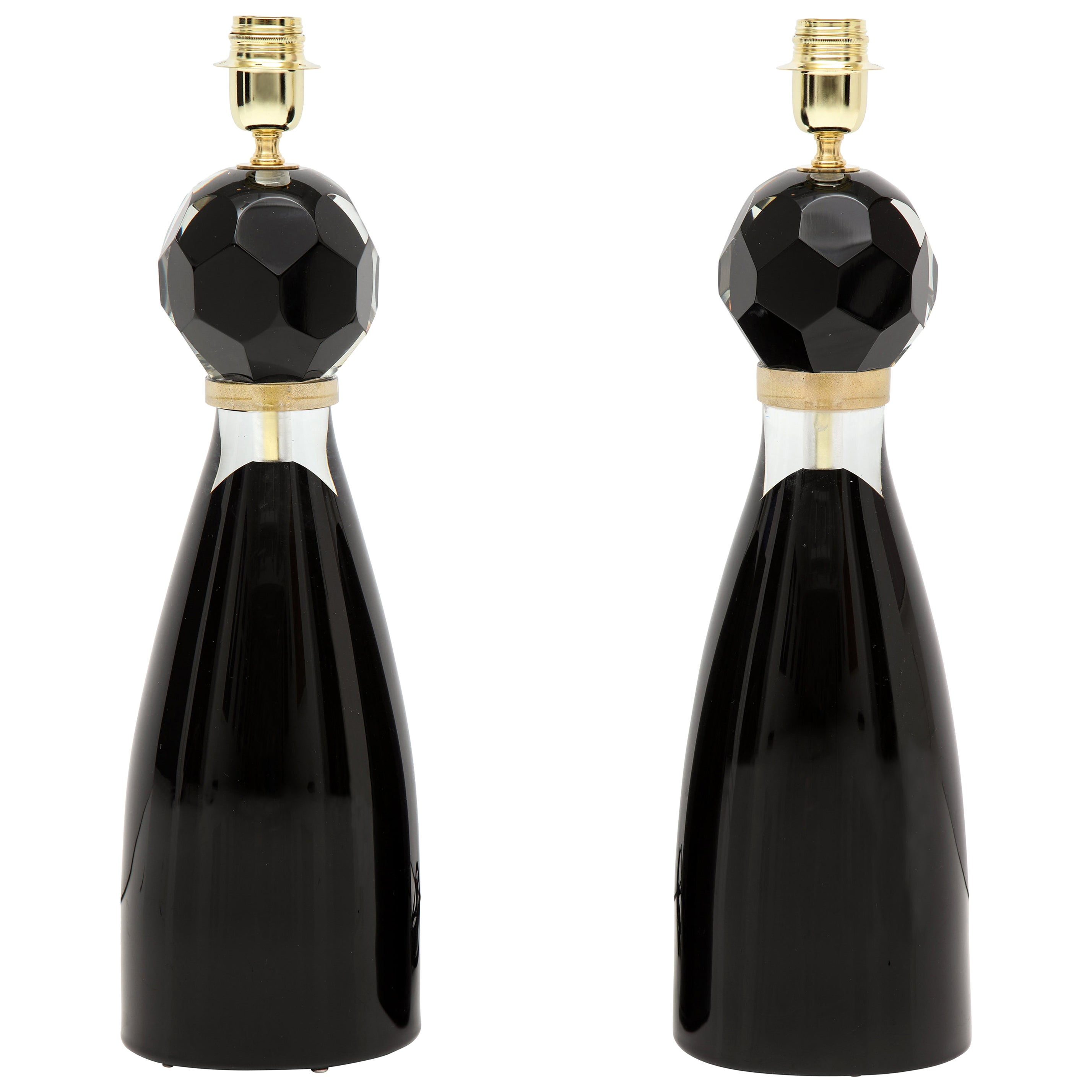 Pair of Handblown Modern Black and Gold Murano Glass Lamps, Italy, Signed