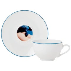 Modern Serigraph Tea Cup - Les Françaises by Sonia Sieff, Porcelain from Limoges