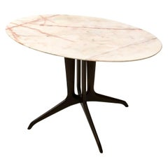 Coffee Table in the Style of Ico Parisi with a Portuguese Pink Marble Top, 1950s