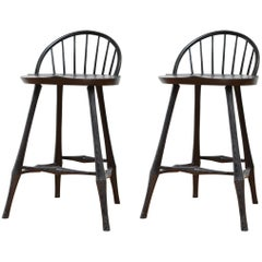 Pair of Wayland Half-Bow Counter Stools in Ebony Stain on Ash by O&G Studio