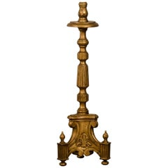 Antique Italian Neoclassical Gold Leafed Candlestick from Italy, circa 1885