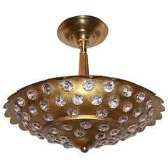 Gilt Light Fixture with Crystal Insets