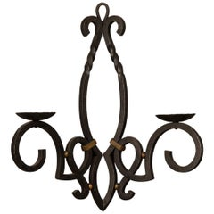 Massive Vintage French Iron Two Candle Arm Sconce from France, circa 1940