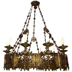 Pair of Cast Bronze Antique Chandeliers, Sold Individually