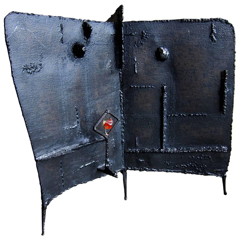 Abstract Modernist Oxidized Iron Three-Sided Sculpture
