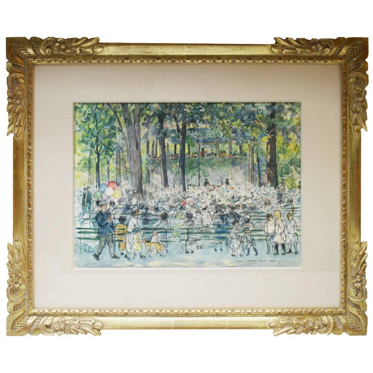 """Concert in Central Park"" a Watercolor by Carle Michel Boog For Sale"