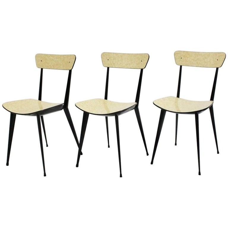 Midcentury Black Metal Dining Chairs in the Style of Carlo di Carli, Italy 1950s