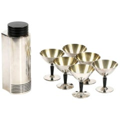 Swedish Silver Cocktail Shaker and Cocktail Cups, Folke Arstrom, 1930s