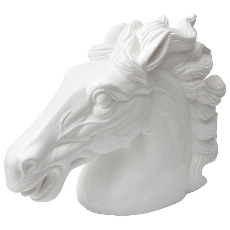 White Horse Head Sculpture For Sale