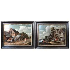 Pair of 18th Century Peasant Scenes at Village Fair