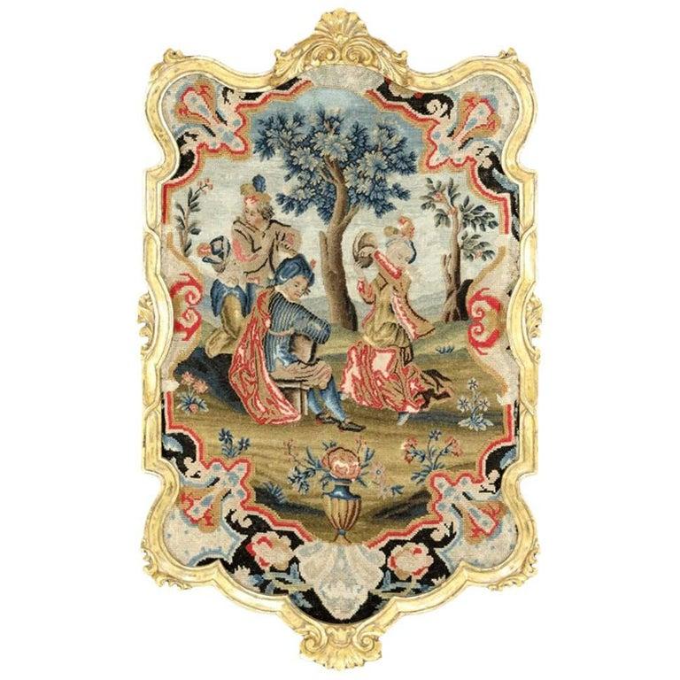 18th Century English Stuart-Era Ornately Framed Needlepoint Wall Hanging