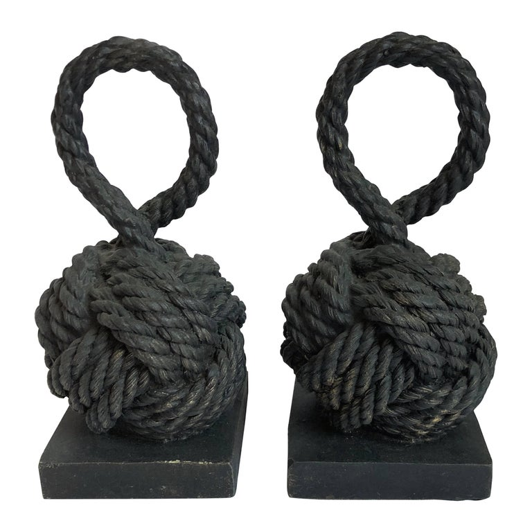 Pair of Bronze Monkey Fist Knot Bookends For Sale
